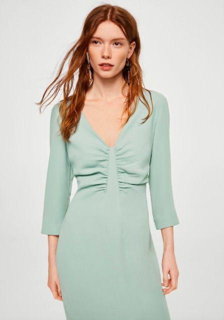 Vestido verde agua manga larga