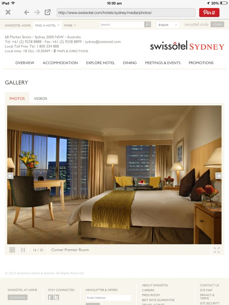 We stayed Swissotel Sydney Sept 2014 in room 2020.  The best service ever. Absolutely beautiful place.