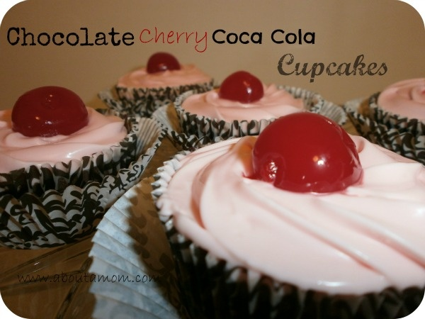 Chocolate Cherry Coca Cola Cupcakes Recipe - About A MomCupcake Recipes, Cola Cupcakes Yum, Cherries Cola, Cocacola Cupcakes, Cupcakes Recipe, Cherries Cocacola, Coca Cola Cupcakes, Chocolates Cherries, Cherries Coca Cola