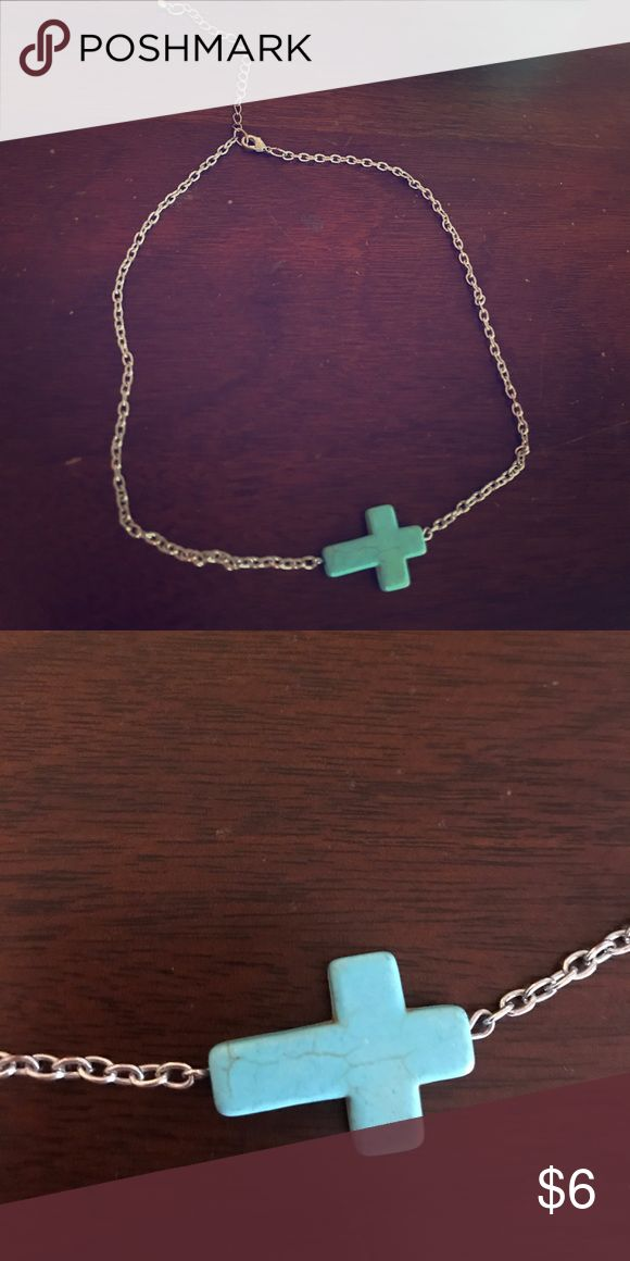 Turquoise side cross necklace with silver chain. Turquoise side cross necklace with silver chain. Jewelry Necklaces