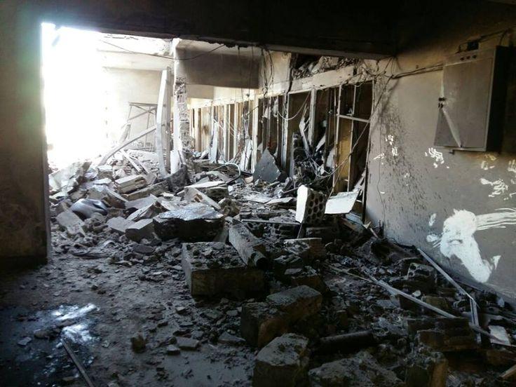 أحد مراكز الإيواء التي تم تدميرها بشكل كامل جراء الحملة الشرسة على حي #الوعر في #حمص