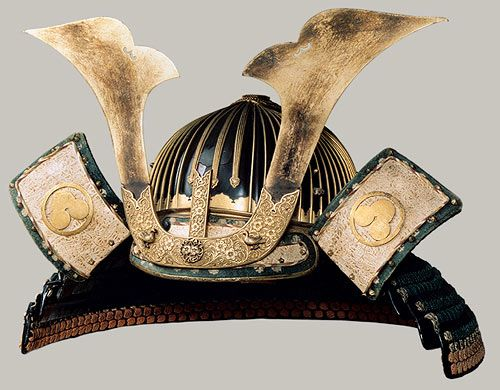Helmet (Suji Kabuto), Muromachi period, 15th century  Japan  Lacquered iron, silk, stenciled leather, gilt copper