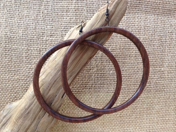 Walnut super large wood hoop earrings