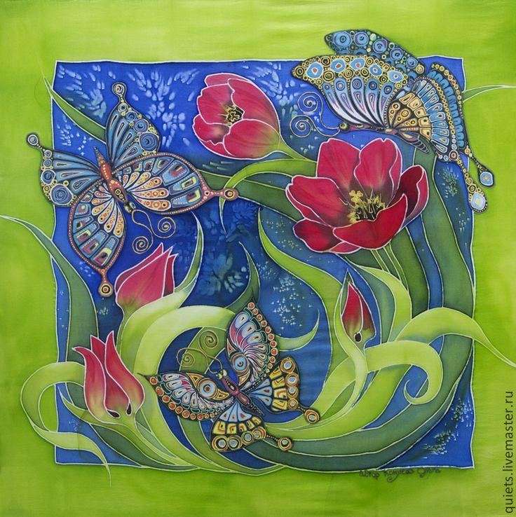 """Купить Платок """"Бабочки и тюльпаны"""" - разноцветный, цветочный, бабочка, бабочки, тюльпаны, тюльпан, платок"""