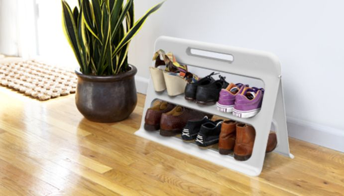 Stepper is a minimalist, lightweight shoe rack that folds flat for easy storage and transport.