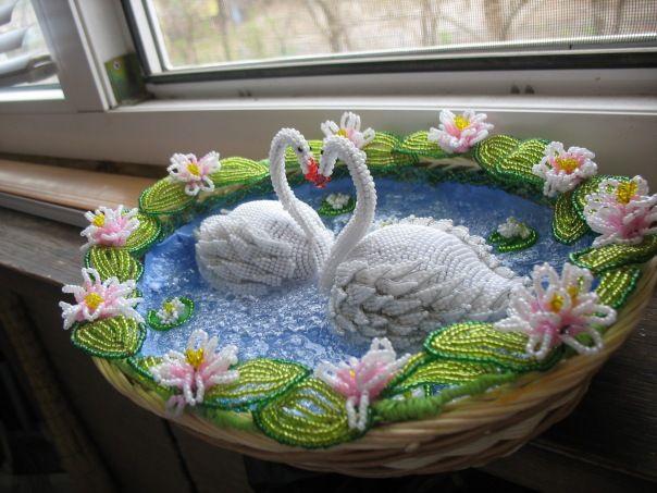 Лебеди | biser.info - всё о бисере и бисерном творчестве