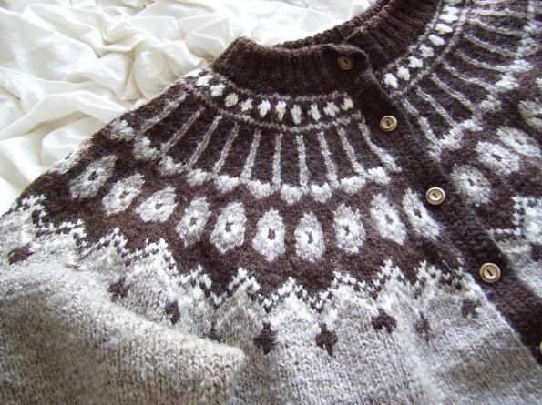 Icelandic Sweater. I made many of these sweaters when I used to live in the Rockies. After work, a group of us - girls and one guy, would sit in a circle and knit. One day, a black bear ran right by us. Memories.