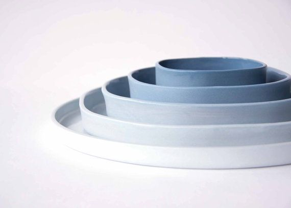 THE SET of 5 porcelain plates, ceramic design dishes, ombre, gradient of blue, square to circle. $205.00, via Etsy.