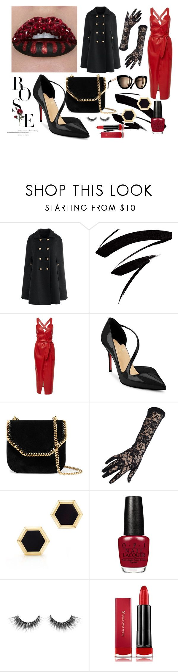 """Night out"" by chalotteleah on Polyvore featuring Chicwish, Nanushka, Christian Louboutin, STELLA McCARTNEY, Black, Birks and Max Factor"