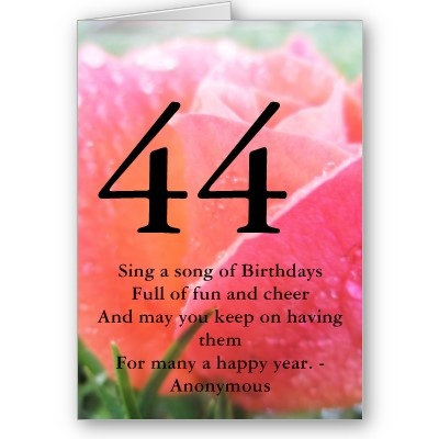 44th Birthday Quote Orange Rose Greeting Card | Birthdays ...