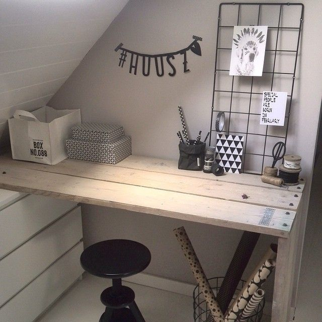 + #attic #desk #small_space #raw_wood