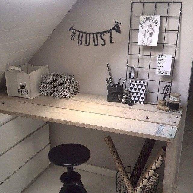 Eindelijk klaar! #werkplek #thuis #bureau #hout #huusz #black #white #wood #loftzwolle #ikea #home #interior #interieur