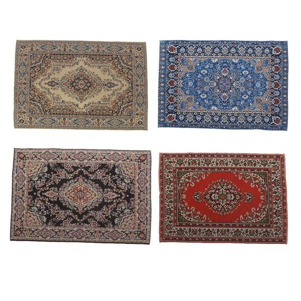 MagiDeal 1//12 Dollhouse Carpets Woven Miniature Rugs Mat Accessory Green