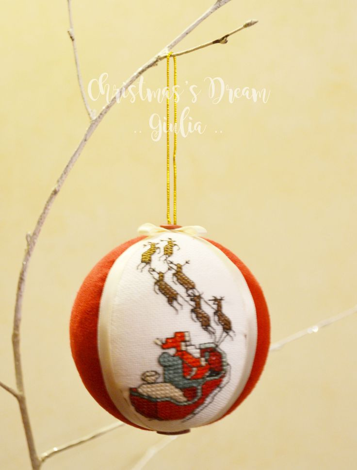 Christmas ball cross stitch :) santa clause! handmade