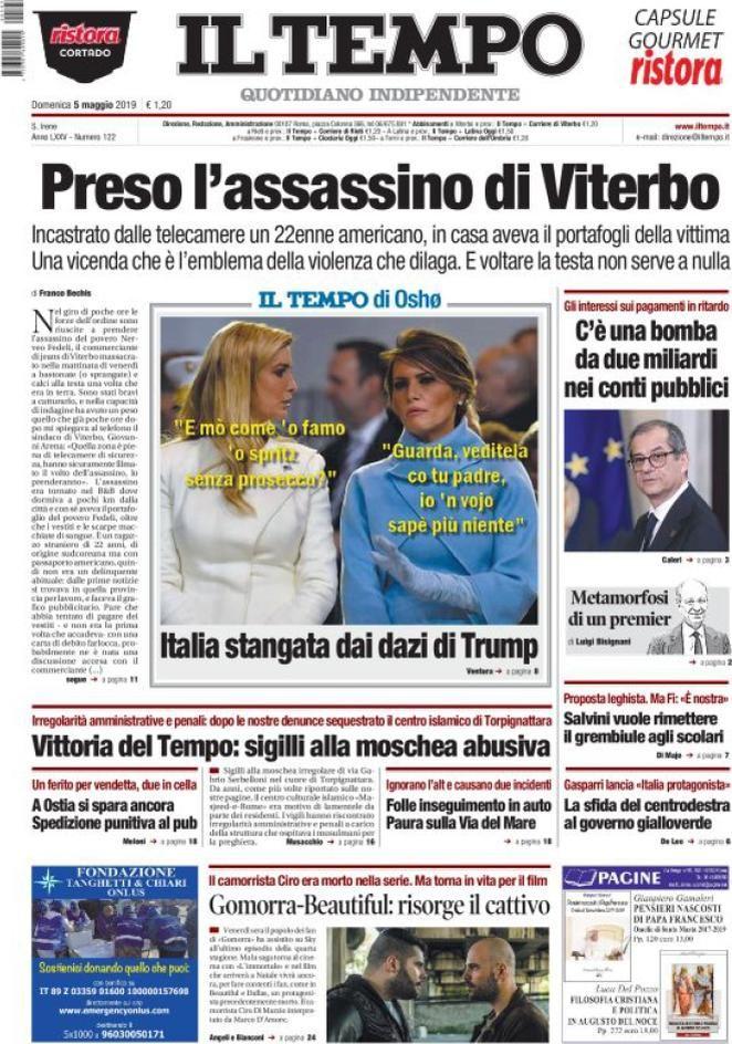 Prima Pagina Il Tempo Giornalone Copertina Osho In Ritardo