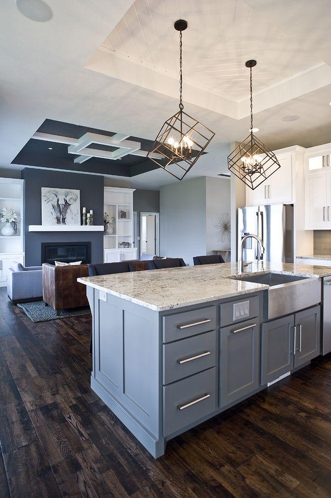 Best Custom Paint Color Gray Island Grey Cabinetry Custom 400 x 300