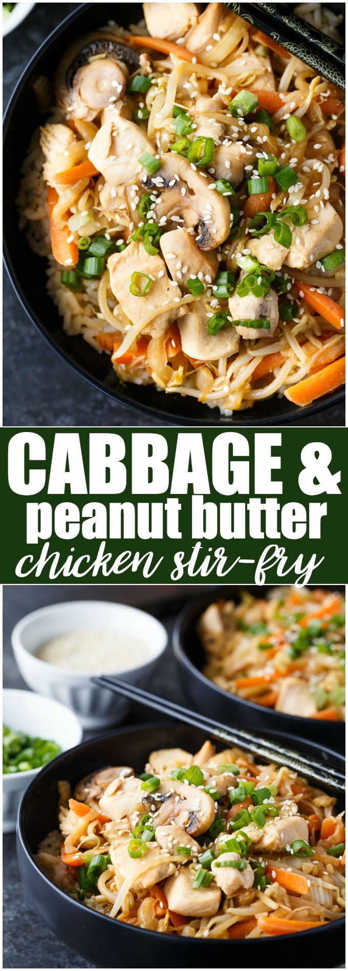 Cabbage & Peanut Butter Chicken Stir-fry - Packed full of healthy veggies like cabbage, bean sprouts and carrots with a unique flavourful sauce. The chicken adds a boost of protein. #ad #chickendotca