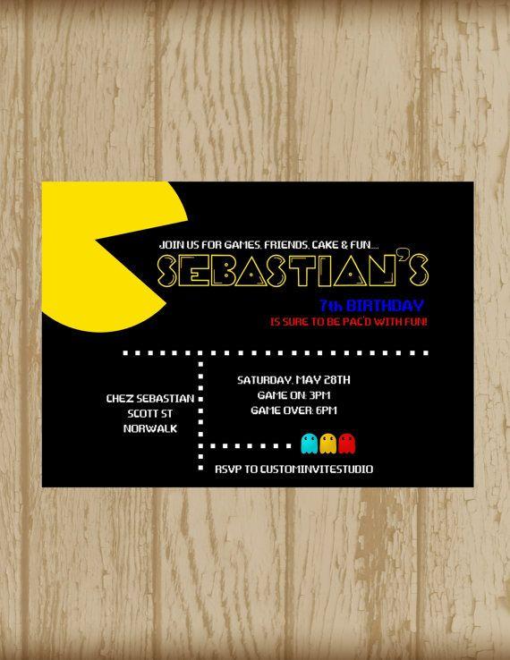 Pac Man Invitation Printable Pac Man by custominviteStudio on Etsy