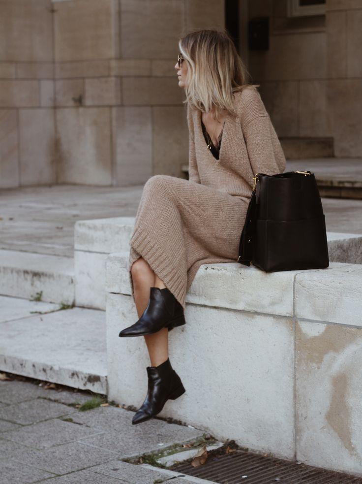 Jumper Camel Dress Booties Black