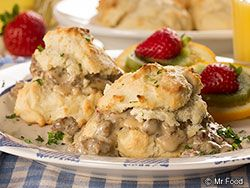 This recipe will take your taste buds down South, to where good old-fashioned tastes are still king. Our Homemade Biscuits and Gravy are full of so much down-home goodness, you'll want to eat 'em at breakfast AND dinner, which is perfectly right by us!