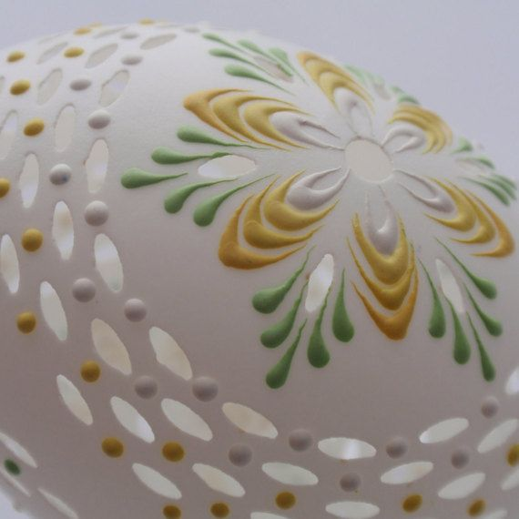 Easter Egg Carved and Wax Embossed Duck Egg Easter by EggstrArt
