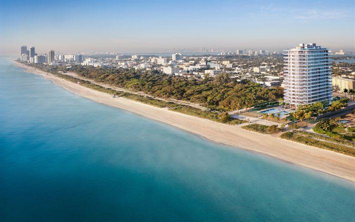 Download wallpapers Miami Beach, Florida, coast, coastline, Atlantic Ocean, beach