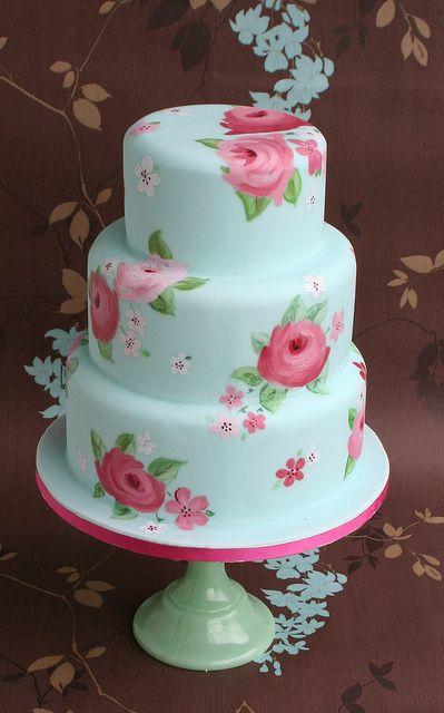 blue wedding cakes | Blue Painted Rose Wedding Cake | Flickr - Photo Sharing!