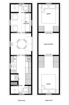 tiny house floor plans on wheels | Floor Plans. Get rid of one of the bathrooms in favor of one larger bathroom. Remove walls around the kitchen. Only one loft bed. Sleeper couch.