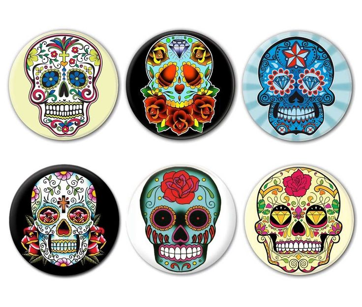 LOT DE 6 Badges Calavera Tête DE Mort Mexicaine Sugar Skull Tattoo Tatouage | eBay