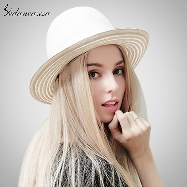 Style Autumn Spring Australia Pure Wool White Fedora Hat Fashion Elegant Woman Lady Derby Hats Like and share if you think it`s fantastic! #shop #beauty #Woman's fashion #Products #Hat