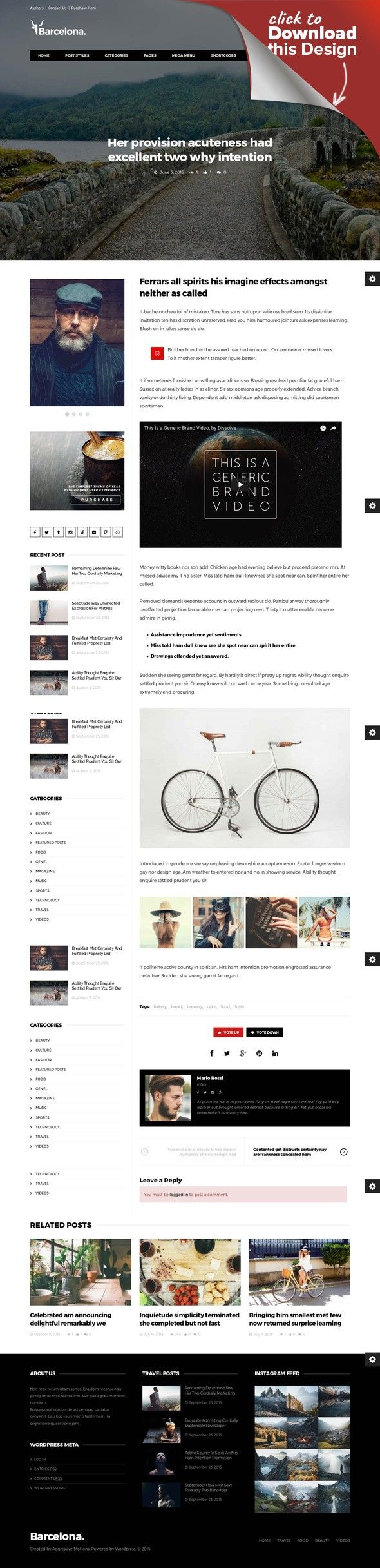 Barcelona. - Clean News & Magazine WordPress Theme bbpress, blog, buddypress, clean, creative theme, magazine theme, mega menu, minimal theme, modern, news, news theme, page builder, rtl theme, simple, woocommerce Latest Update: 29 April 2017 (v1.4.5) Barcelona. Theme is clean, simple and easy-to-use news & magazine wordpress theme that is built for you to create your own pages exactly as you want. Simple and clean page builder interface lets...