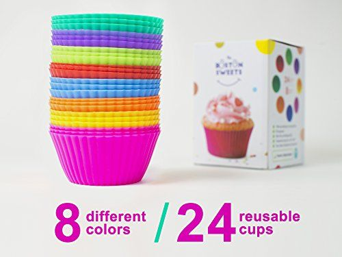 The Boston Sweets Silicone Cupcake Liners - 24 Pack Baking Cups- EIGHT colors - Reusable & Nonstick Muffin Molds - Cupcake Holders Gift set - Pink Purple Blue Red Green Fun Green Yellow Orange Muffin Cups  Price: US $19.99 & FREE Shipping  #kitchen #love #home #lovedkitchen
