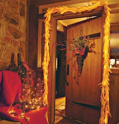 Tamale wrappers are an inexpensive door decoration.