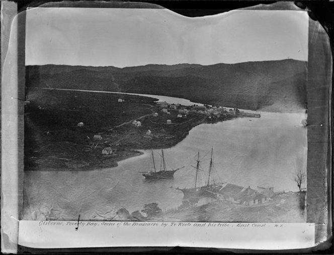 Gisborne, Poverty Bay. Scene of the massacre by Te Kooti and his tribe, East Coast, NZ (caption) Date: [ca 1870?]