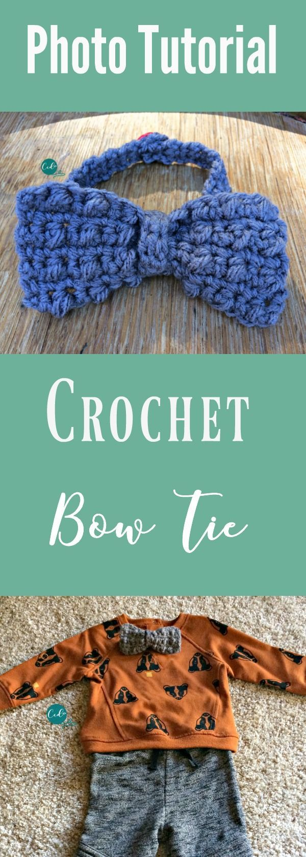 Crochet bow tie free pattern and tutorial | two bowtie sizes | holiday bowtie crochet pattern | free bow tie pattern crochet | bow tie tutorial | baby bow tie | crochet bow | mini puff stitch crochet | mini bean stitch crochet