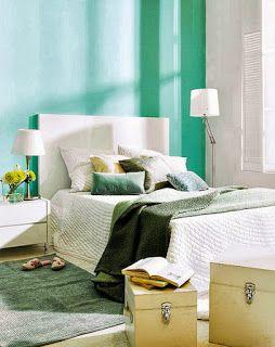 Habitaciones en turquesa y blanco