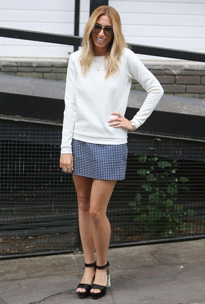 Stacey-Solomon-embossed-sweater-blue-polka-dot-skirt