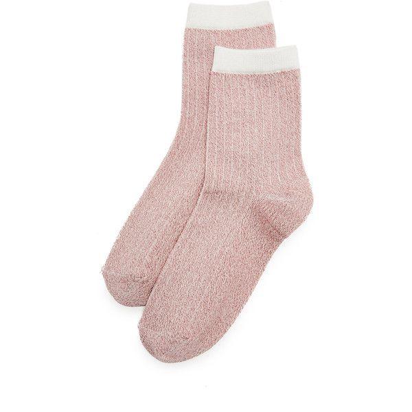 Liana Clothing Lurex Glitter Socks ($12) ❤ liked on Polyvore featuring intimates, hosiery, socks, pink, lurex socks, glitter socks, metallic socks, glitter hosiery and cuff socks