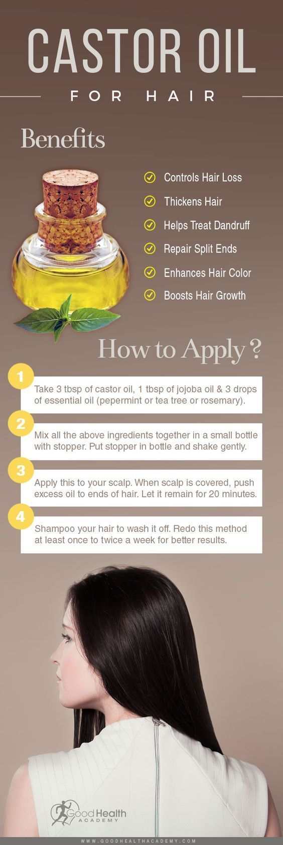 Castor oil contains natural compounds that promote hair growth. It provides nourishment, enabling the hair follicles to restore growth to a normal level.