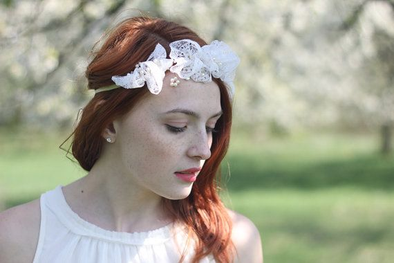 Vintage lace wreath - this floral hair piece features hand made blooming lace flowers and fresh water pearls, gently resting a wire twig. The white