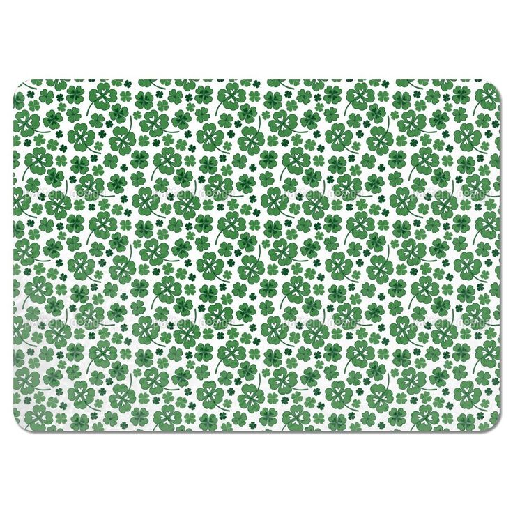 Uneekee Lucky Clover White Placemats (Set of 4) (Lucky Clover White Placemat) (Polyester, Floral)