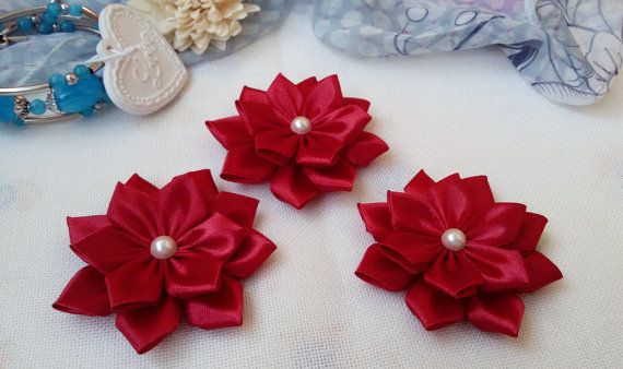 3 big decorative flowers cherry color applique by Rocreanique on Etsy