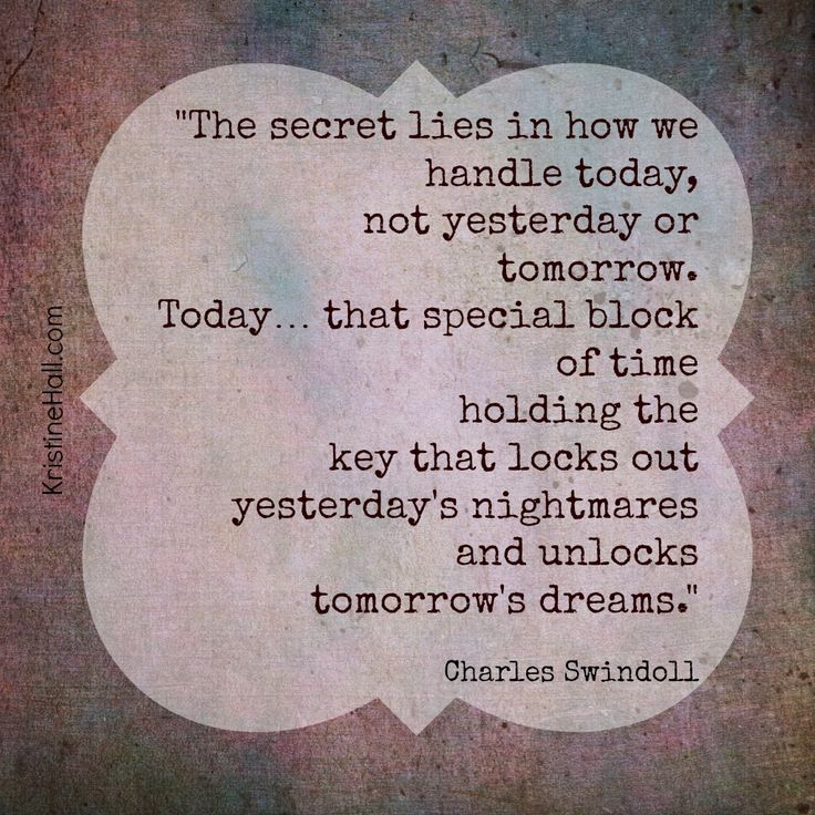 "Charles Swindoll quote ""The secret lies in how we handle today ... """
