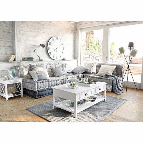 Modulare 6-Sitzer Eckpolsterbank aus Baumwolle, grau/weiß Honfleur