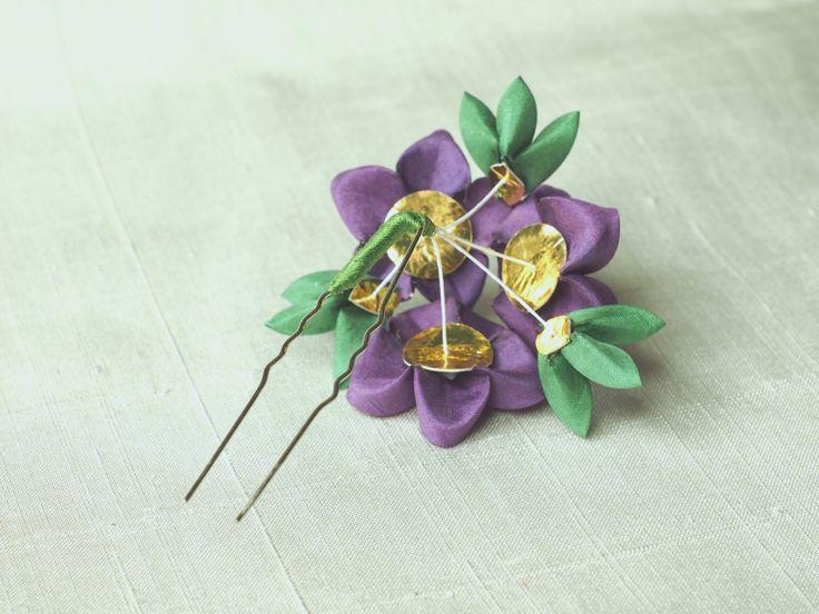 Purple ume trio silk kanzashi hair fork by GirLinKimono on Etsy