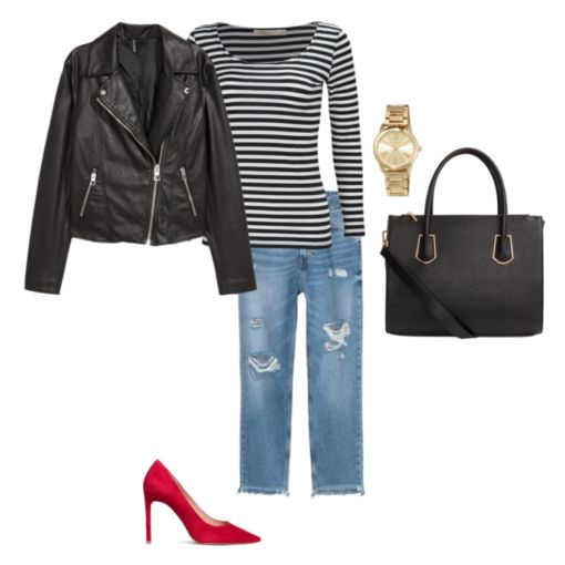 Moto jacket, striped top, boyfriend jeans and red shoes.  French Minimalist Capsule Wardrobe - 20 pieces to create 20 mix and match outfits!  Perfect packing list for Paris.