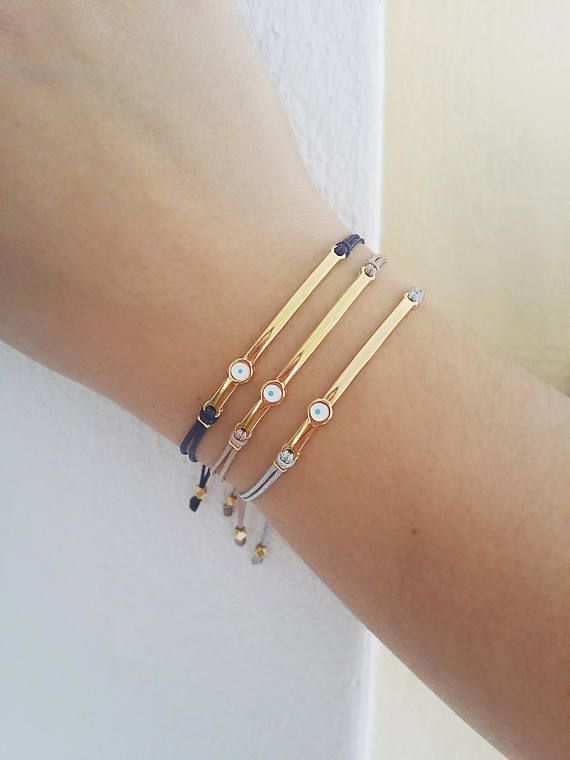 Gold Bar bracelet Evil eye bracelet Friendship bracelet