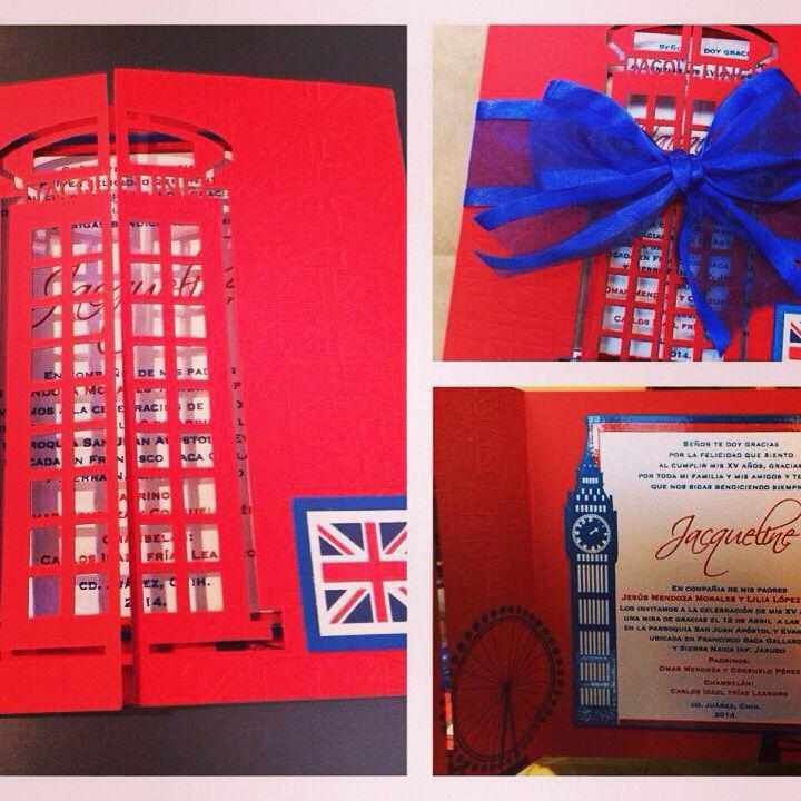 London theme Sweet sixteen, laser cut, thermographic printing by margarita@arteenpapel.mx #lasercut #quinceañera #invitations