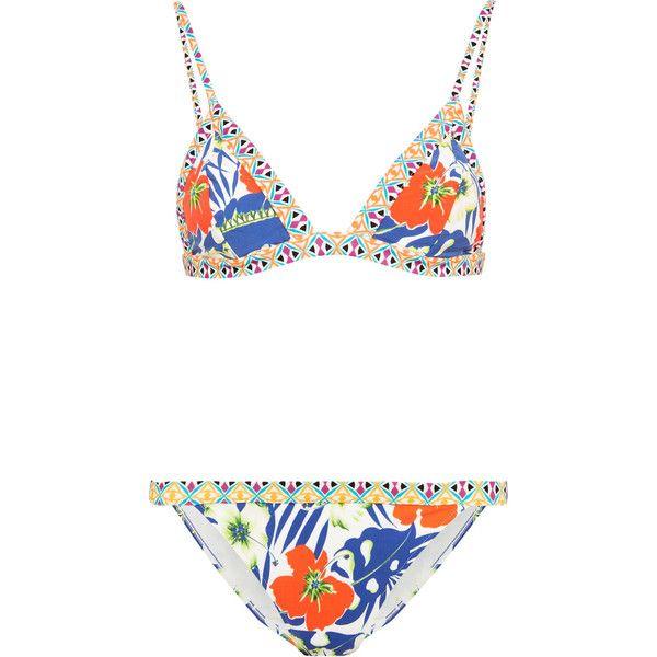 Etro Printed triangle bikini (5,690 MXN) ❤ liked on Polyvore featuring swimwear, bikinis, royal blue bikini, padded swimwear, multi color bikini, padded triangle bikini and padded bikinis