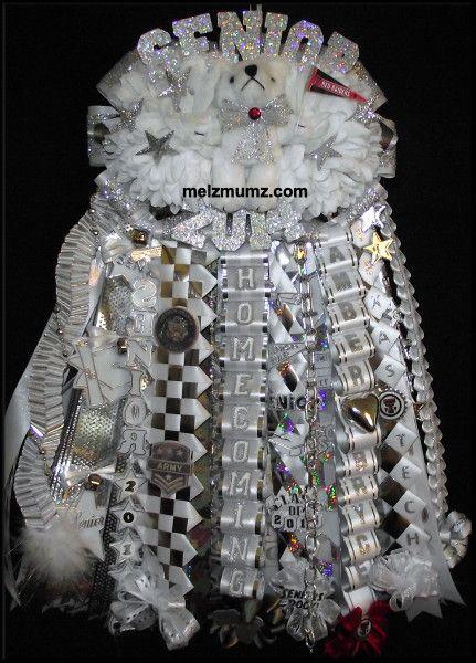 Melz Mumz MEGA Double Homecoming Garter. L D Bell High School.  Custom made homecoming mums and garters by melzmumz. Com